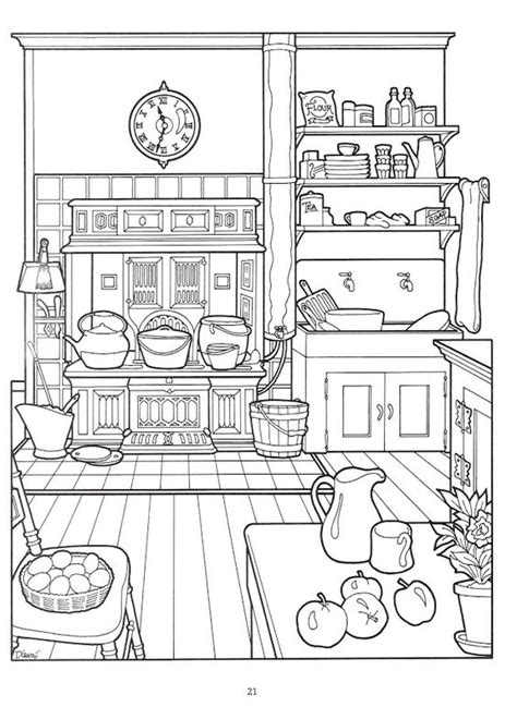 kitchen for adults the house coloring book colorir interiores