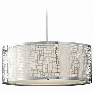 Modern drum pendant light with white glass in chrome