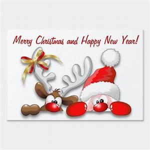 funny, santa, and, reindeer, cartoon, yard, sign