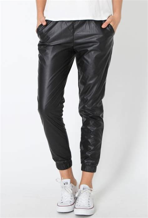 casual pant trend luxe leather track pant cuffs white