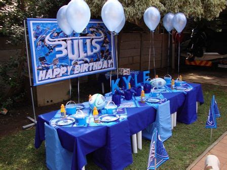 pin  estele stoltz  blue bull rugby theme table