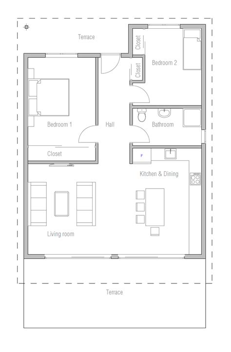 tiny affordable home  narrow lot house plan