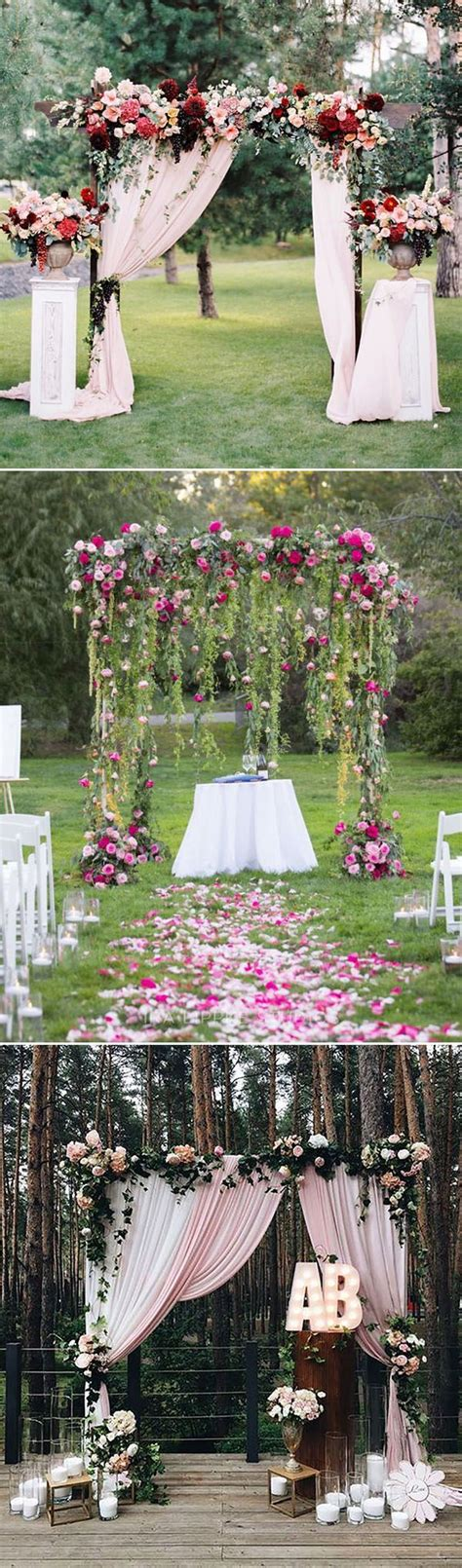 OutDoor Decorative : stunning outdoor floral and fabric wedding altar and arch ideas