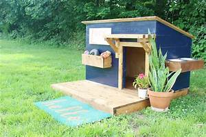 DIY Doghouse with Deck, Toy Box, and Food Bowl