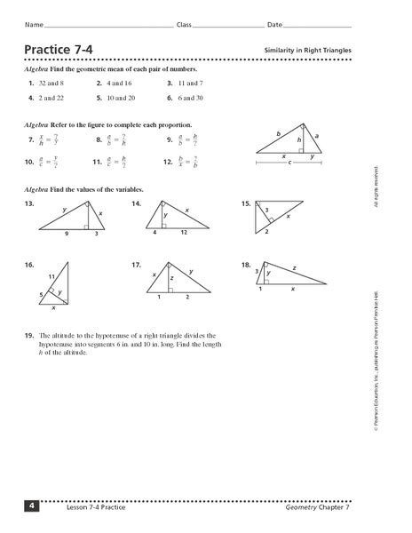 Practice 74 Similarity In Right Triangles Worksheet For 10th  12th Grade  Lesson Planet