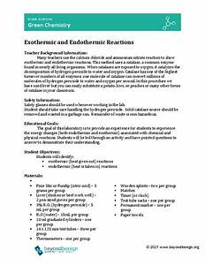 Exothermic And Endothermic Reactions Lesson Plan For 9th
