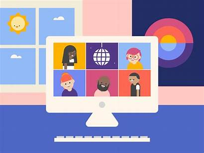 Virtual Call Student Meeting Animation Happy Remote