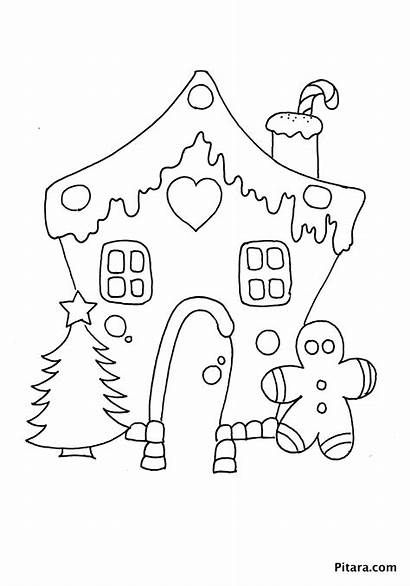 Coloring Christmas Decorations Pages Gingerbread Outline Pitara
