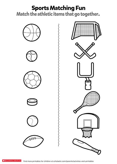 match  sports items worksheets printables