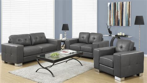 8223gy Charcoal Gray Bonded Leather Living Room Set From