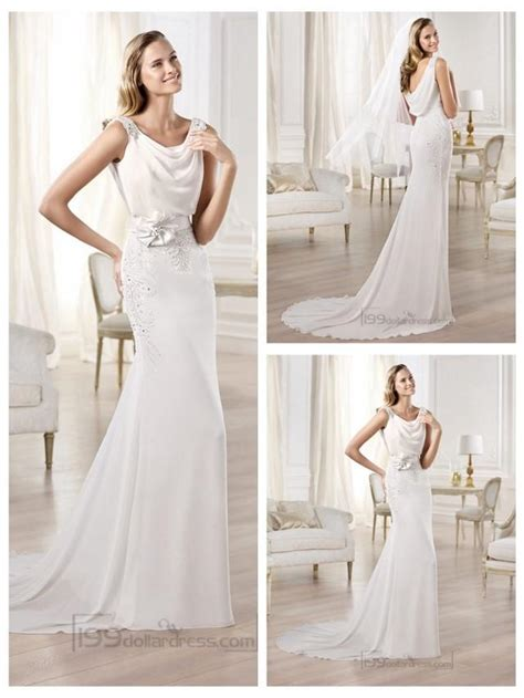 Boat Neck Dress Diy by Beaded Straps Draped Boat Neck And Back Wedding Dresses