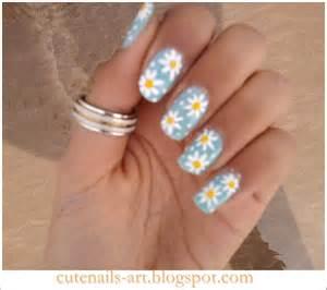 Cutenails art spring nails daisy flowers