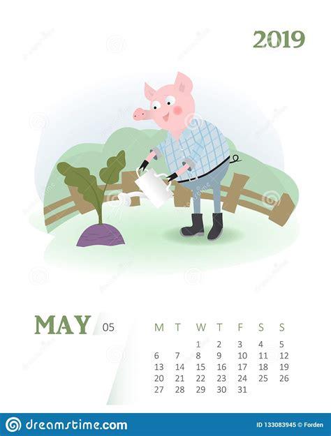 calendar  cute  month cartoon calendar  pig