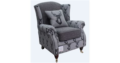 Charcoal Grey Fireside Wing Chair In Stag Design