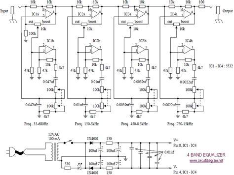 4 band equalizer circuit scheme