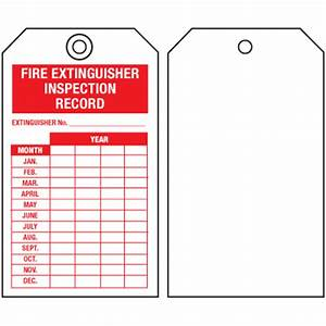 fire extinguisher tags inspection record single sided With fire extinguisher inspection tag template