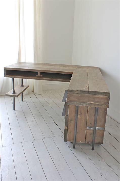 reclaimed wood corner desk stuart industrial reclaimed board corner desk by urban