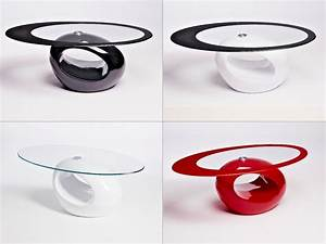 DESIGNER OVAL BLACK RED WHITE GLASS COFFEE TABLE ...