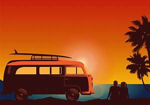 Surfer Couple With Vw Style Van Vector