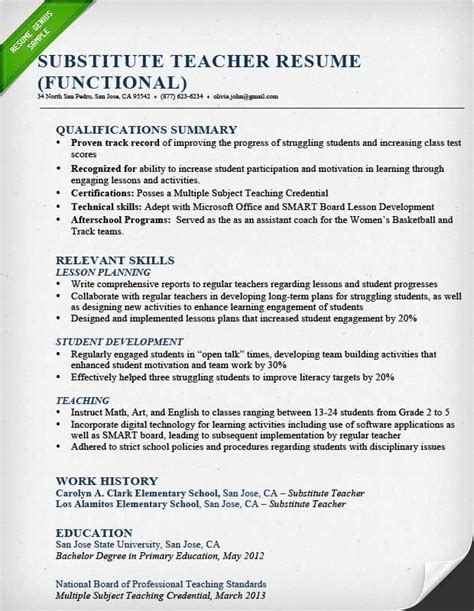 Teaching Resume Template by Substitute Resume Sle Functional Education