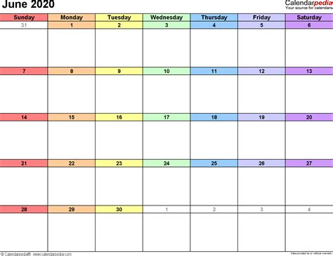 june  calendar templates  word excel