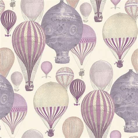 Ideco Home Laurent Pink & Purple Hot Air Balloon Wallpaper