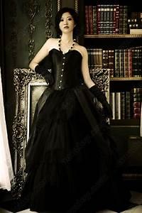 elegant long gothic black evening prom skirts annzley With black corset wedding dress