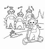 Coloring Pages Teletubbies Scooter Play sketch template