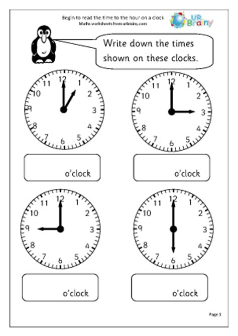 read the time 1 time maths worksheets for year 1 age 5 6