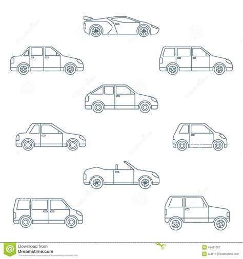 Dark Outline Various Body Types Of Cars Icons Collection