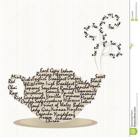 tea pot words  steam  stripes stock vector