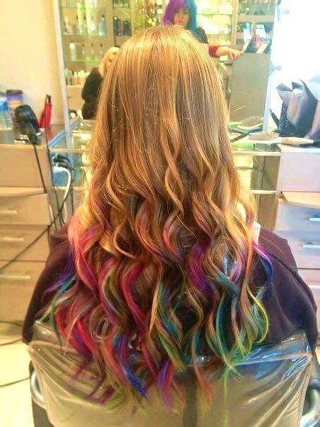 Rainbow Tips Cool Hair In 2019 Dyed Hair Blonde Hair