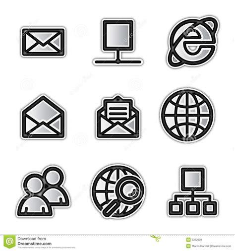 Iconos Del Web Del Vector Internet De Plata Del Contorno