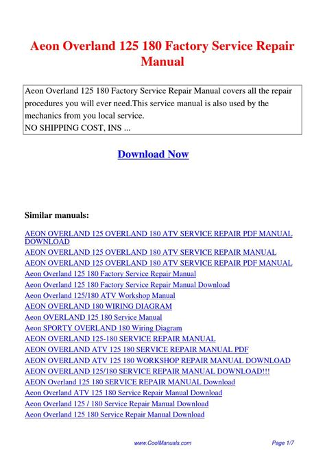 aeon overland 125 180 factory service repair manual pdf by guang hui issuu