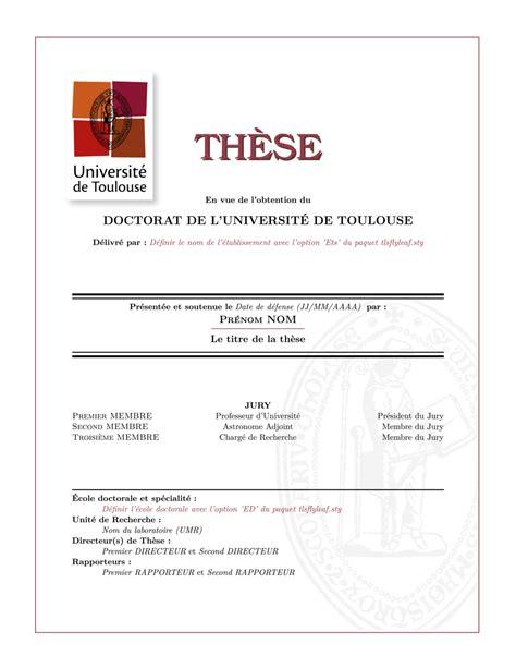 Thesis Preambule Template Latex template latex pour l universit 233 de toulouse
