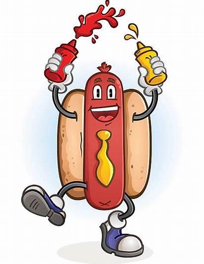 Dog Mustard Ketchup Cartoon Character Squirting Karikatur