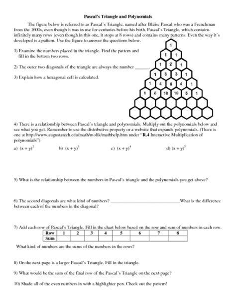 pascal triangle worksheet free worksheets library
