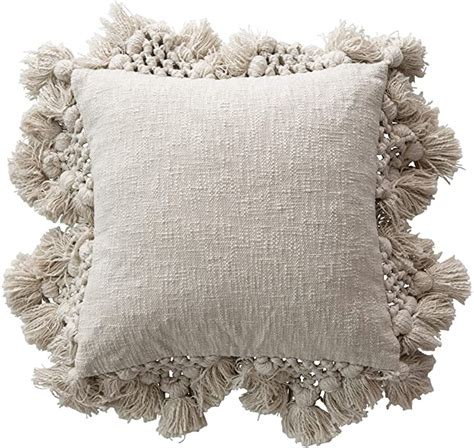 Amazon.com: Creative Co-op Square Crochet & Tassels Grey ...