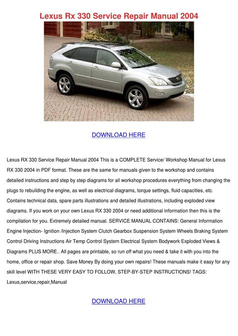 auto repair manual free download 2001 lexus rx free book repair manuals lexus rx 330 service repair manual 2004 by barneybarrows page 1 issuu