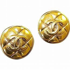 CHANEL, France Quilted CC Logo Button Clip Earrings in ...
