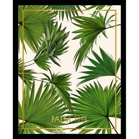 stickers porte de cuisine cadre décoratif feuille tropicale en vert sur fond blanc