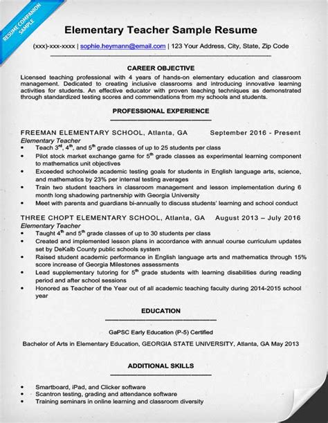 Sle Resume For Teachers by Elementary Resume Sle Writing Tips Resume