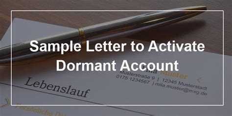 sample letter  activate dormant account