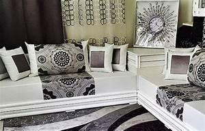 canap arabe pas cher canap en cuir noir pour le salon With tapis oriental avec canapé blanc et gris pas cher