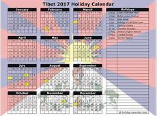 Tibet 2017 2018 Holiday Calendar