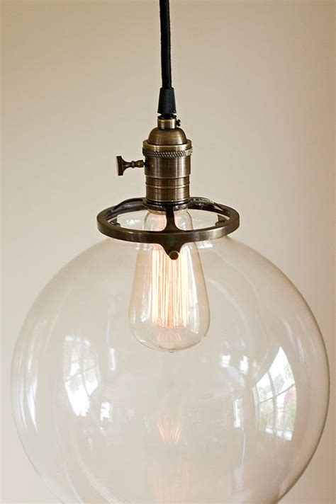 glass globe pendant light fixture 10 quot blown glass