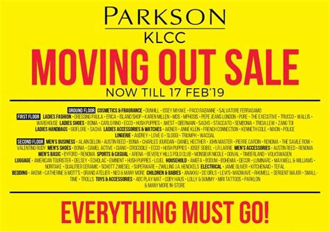 parkson klcc moving  sale valid   february