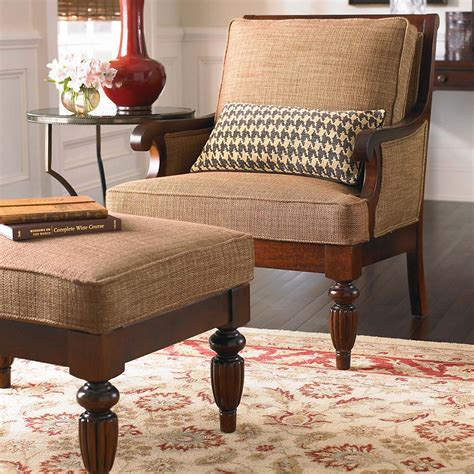 leather fabric accent chair with wood accents and legs