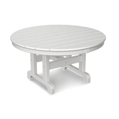 Polywood White 36 In Round Outdoor Patio Coffee Table