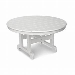 polywood white 36 in round outdoor patio coffee table With white round outdoor coffee table